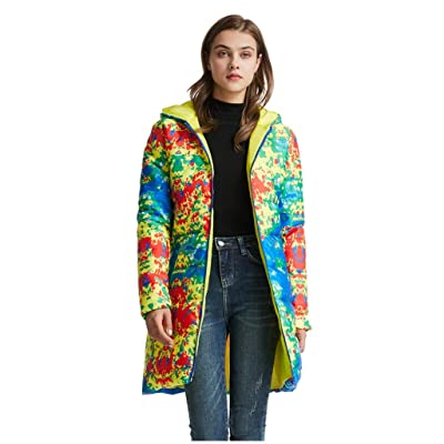 Sttech1 Womens Puffer Long Jacket, Tie Dye Printed Warmth Outerwear Lightweight Full Zip Pockets Padding Coat Outerwear: Clothing