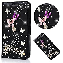 Bling Case ZTE Grand X Max 2, ZMax Pro Case, Bonice Glitter Bling Diamonds Stand View PU Leather Folio Flip & Card Slots Holder Pink Butterfly Flowers Wallet Cases, Black