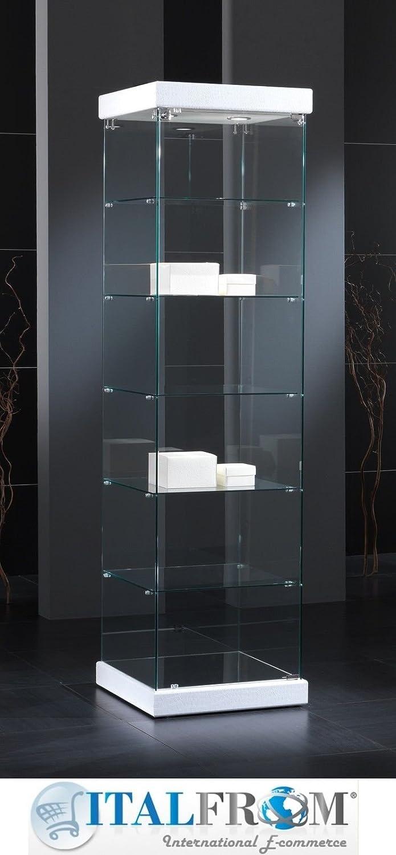 Vitrine Vitrine Präsentationsständer Display Showcase Kunstleder Leather mit Lichterkette