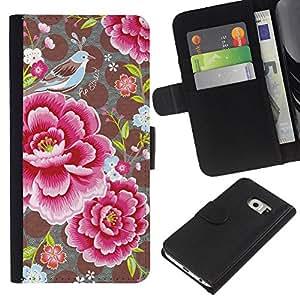 EJOY---La carpeta del tirón la caja de cuero de alta calidad de la PU Caso protector / Samsung Galaxy S6 EDGE / --Pétalos de la flor Modelo de lunar de la vendimia