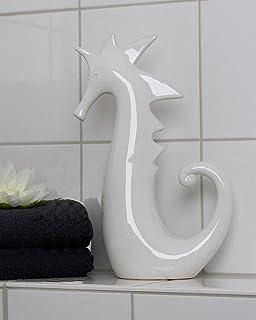 Casablanca Figur Seepferdchen Keramik Weiß 18cm