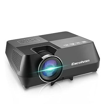 Excelvan Proyector, GT-S8 Proyector Portatil LCD 720p 1600 Lúmenes 2W Soporte HDMI USB TF AV VGA Home Cinema HD Proyector de Cine en Casa para ...