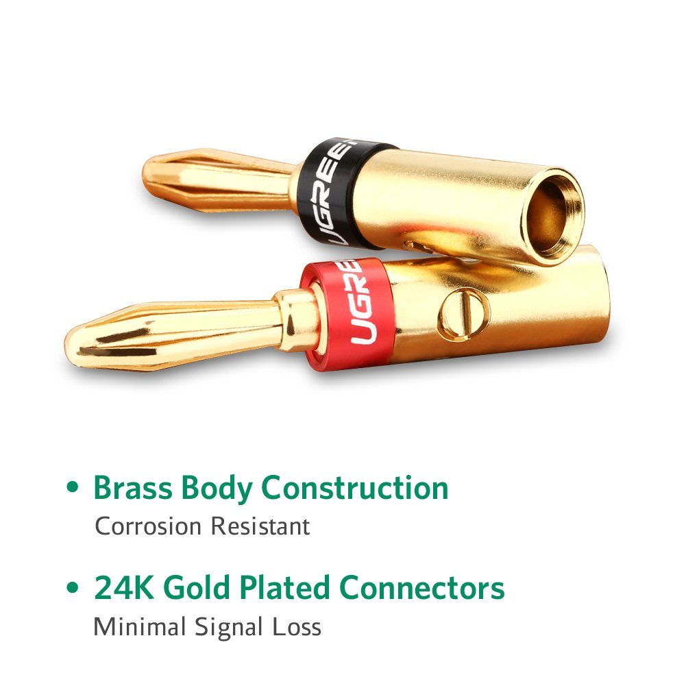 4 Pares UGREEN Cable de Altavoz de Conectores Banana Cable Tornillo Enchufes Conectores 4 mm chapados en Oro de 24 K