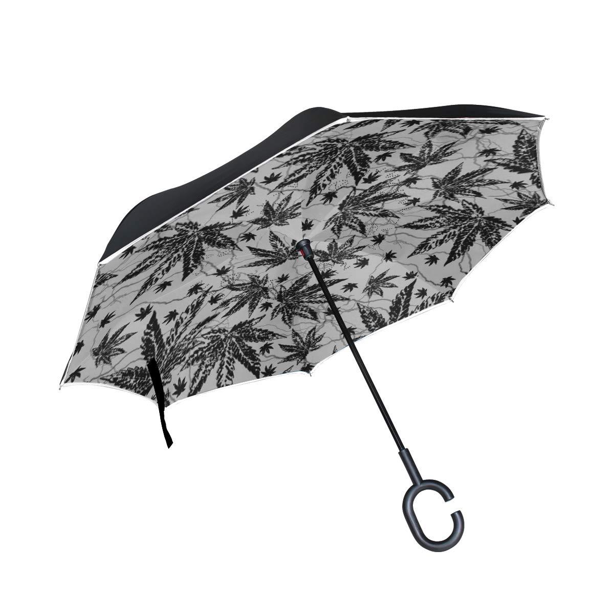 DOPKEEP Ganja Leaf ダブルレイヤー 反転傘 車 逆傘 UV保護 防風 大きなストレート傘 車 雨 屋外 C型ハンドル付き   B07GTK2TVR