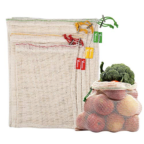 Reusable Produce Bags Vemico 6 Pieces Natural Cotton Mesh Bags Set LightweightGrocery Bags Variety of Sizes Fruit Veggies Storage Recyclable Net Bags