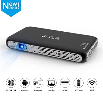 OTHA Mini Proyector Portátil 3D, Proyector DLP 200ANSI Lúmenes, Android Bluetooth WiFi Cine en Casa, Soporte 1080P 4K HDMI USB, Compatible con Fire TV ...