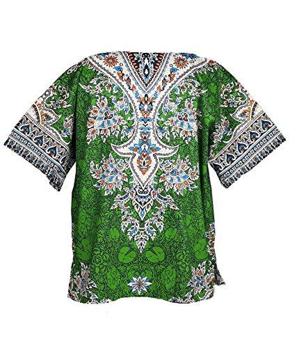 Lofbaz Traditional African Print Unisex Dashiki Ethnic Size XS Green by Lofbaz (Image #2)