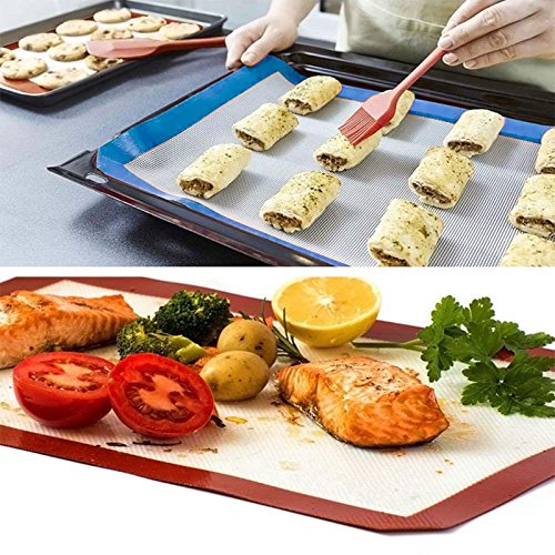 baking mats Half Sheet 16.5 inch x 11 5/8 inch for Pastry Rolling with Measurements Set of 6pcsNon Stick Silicone Baking Mat for Kitchen Cooking Macaron/Bread Making