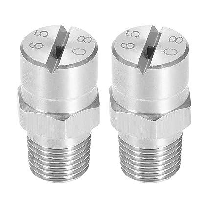 2 Pcs Flat Fan Spray Tip 65 Degree Stainless Steel Nozzle 1.4mm Orifice Dia