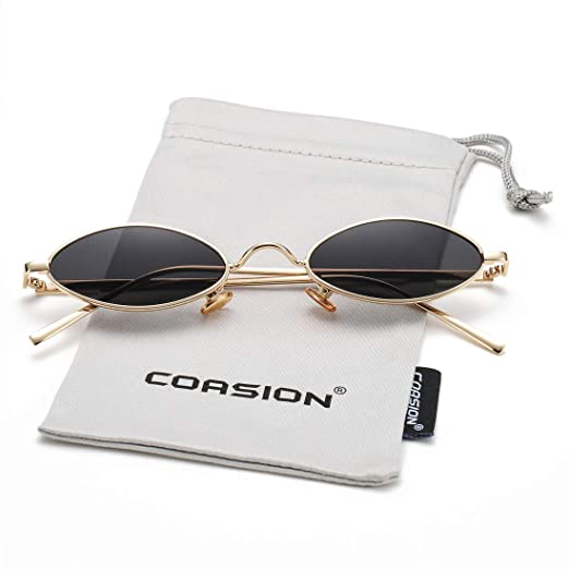 a0bda4139 Vintage Small Oval Sunglasses for Women Men Hippie Cool Metal Frame Sun  Glasses (Gold Frame