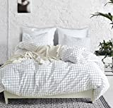 Black and White Duvet Covers Fire Kirin Queen Duvet Cover Set with Zipper Closure 3Pcs (1 Duvet Cover + 2 Pillowcases) Modern Mini Black and White Grid Plaid Checkered Pattern Bedding Cover Set
