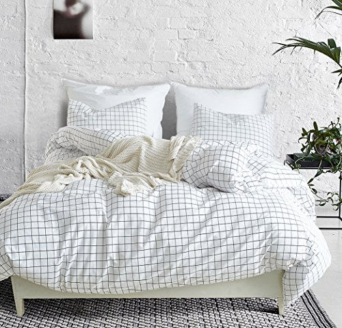 Square Comforter Set - Fire Kirin Queen Duvet Cover Set with Zipper Closure 3Pcs (1 Duvet Cover + 2 Pillowcases) Modern Mini Black And White Grid Plaid Checkered Pattern Bedding Cover Set