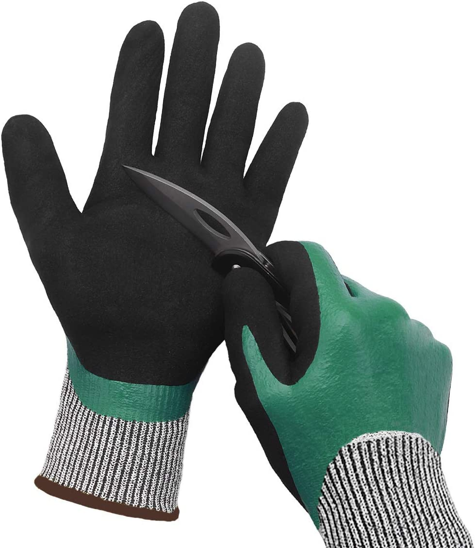 Waterproof Work Gloves 2 Pairs Cut Resistant Liner Safety Gloves Double Coating Superior Grip Level 5 Protection for Kitchen Fishing Cleaning Garden Construction Car Multi-Purpose.