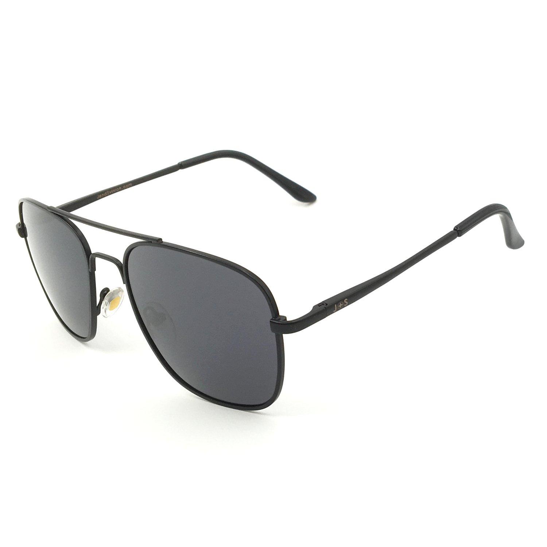 J+S Premium Military Style Classic Aviator Sunglasses, Polarized, 100% UV protection (Medium Square Frame - Black Frame/Gray Square Lens)