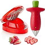 Strawberry Huller Fruit Slicer Set, Berry Stem Leaves Huller Gem Remover Removal Fruit Peeling Tool Kitchen Accessories…