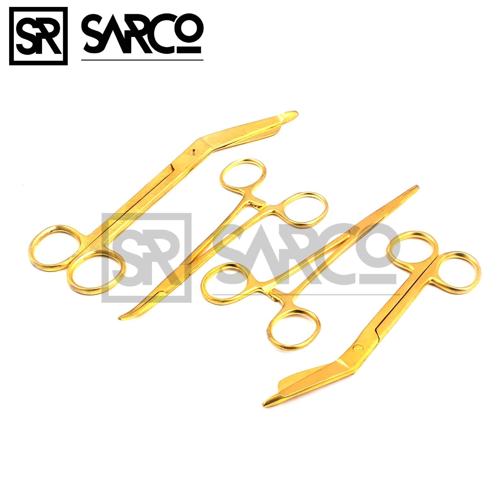 Sarco Premium German Stainless Lister Bandage Scissors 7.25'' + 5.5'' HEMOSTAT Forceps Straight + Curved 5.5'' Gold Color Stainless Steel -A+Quality Guaranteed (Set of 4)