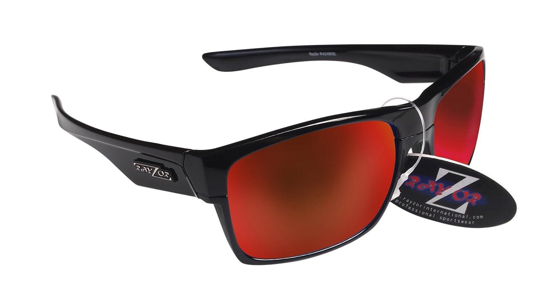 Rayzor Professionelle Leichte UV400 Schwarz Sports Wrap GOLF Sonnenbrille, Mit einer 1 Stück Entlüfteter Blau Grün Iridium Widergespiegeltes Objektiv.