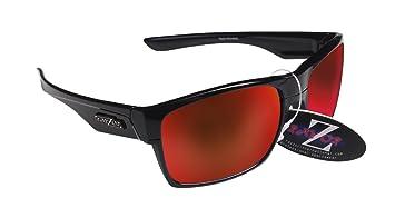 RayZor Professional leichte UV400schwarz Sports Wrap Golf Sonnenbrille, mit einem roten Iridium verspiegelt Blendfreie Objektiv