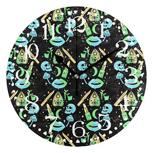 Shadimi - Pastel Goth Witch Creepy Halloween Round Acrylic Wall Clock Silent Non Ticking 10 Inch