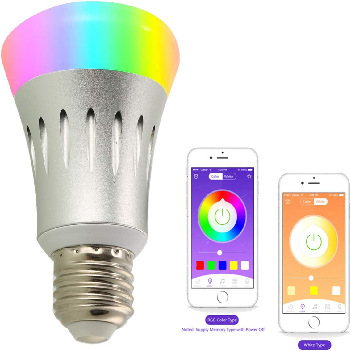 Mobestech 7W lgb LED compatibilidad de color B22/e27 inteligencia ...