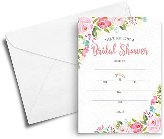 Bold Watercolor Shower Invites  Orchid Pink  Hand Lettering  Semi-Custom Party Bridal Shower Invites  Printed Invitations
