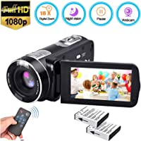 Video Camera Camcorder [2019 Upgrade], Weton Digital Video Camera with IR Night Vision 18X Digital Zoom 24.0Mega Pixels Camcorders 1080P Full HD Video Camera Recorder (Two Batteries Included)