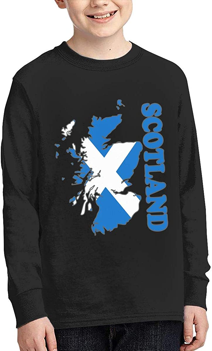 Teenagers Teen Girls Scotland Flag Map Printed Long Sleeve 100/% Cotton T Shirts