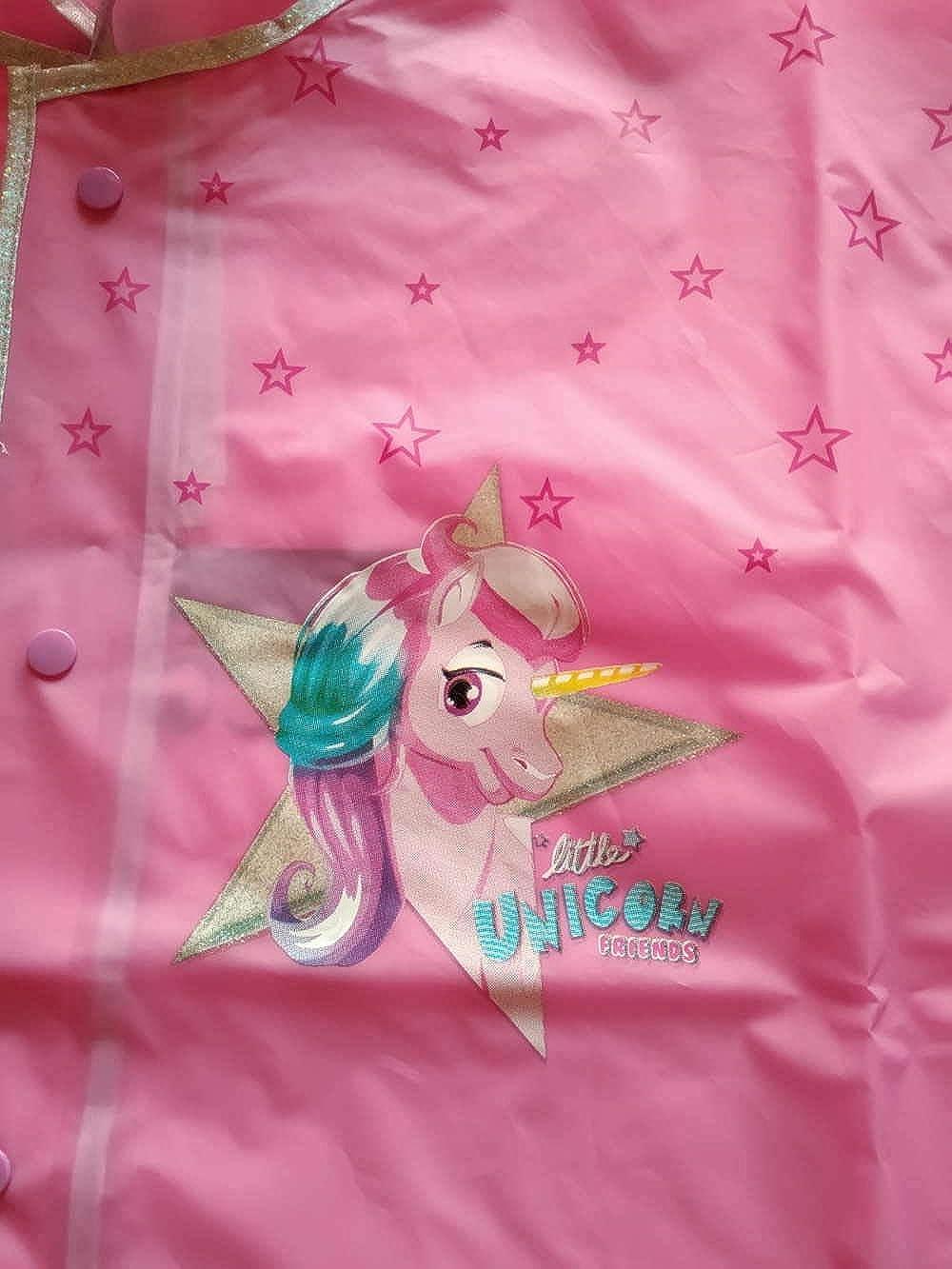 mas Mantella Impermeabile Pioggia PVC Unicorno Bambina con Stelline e glietter 3//6 Anni