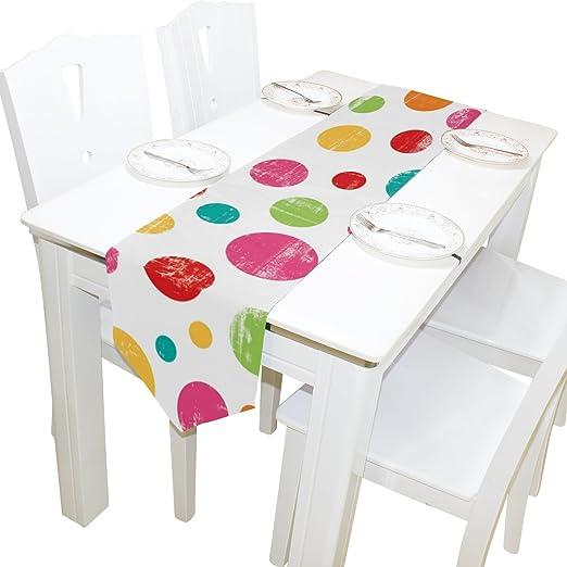 yochoice camino de mesa decoración del hogar, vintage colorido lunares mantel runner café alfombrilla para boda fiesta banquete decoración 13 x 70 pulgadas: Amazon.es: Hogar