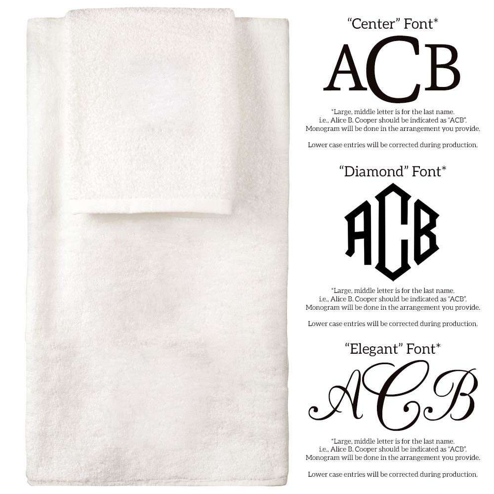 Personalized Monogrammed Decorative Bath Linens for Home, Office, and Gifts. Hotel Collection 100% USA Made 6-Piece Towel Set - White - 2 Bath, 2 Hand & 2 Wash Towels. Luxurious Boutique Towels. by 1888 Mills (Image #3)