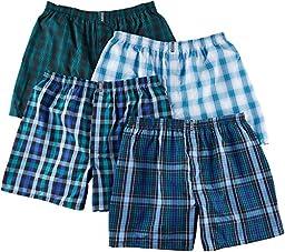 Jockey Men\'s Underwear Classic Full Cut Boxer - 4 Pack (Large, assorted blues)