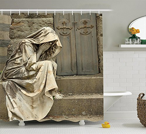 Sculptures Decor Collection Grief Tombstone on Monumental Cemetery in Florence Italy Europe Landmark Pattern Polyester Fabric Bathroom Shower Curtain Set with Hooks Beige (Cute Halloween Tombstone Sayings)