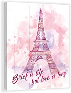 Paris Eiffel Tower Wall Decor for Girls Bedroom Pink Bathroom Pictures Wall Decor Paris Themed Room Decor Canvas Framed Wall Art Print Modern Home Kid Home Artwork for Walls Wall Decoration Size 12x16