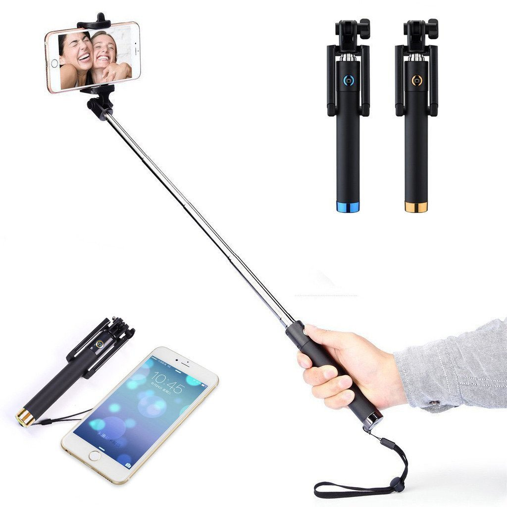 Happy Hours® 2015 New Generation Mini Selfie Stick One-piece U-Shape Self-portrait Monopod Extendable Selfie Stick Bluetooth Remote Shutter for Andriod 3.0/ IOS 4.0 And Above Samsung iPhone HTC Blackberry Sony LG, Gold Happy Hours®