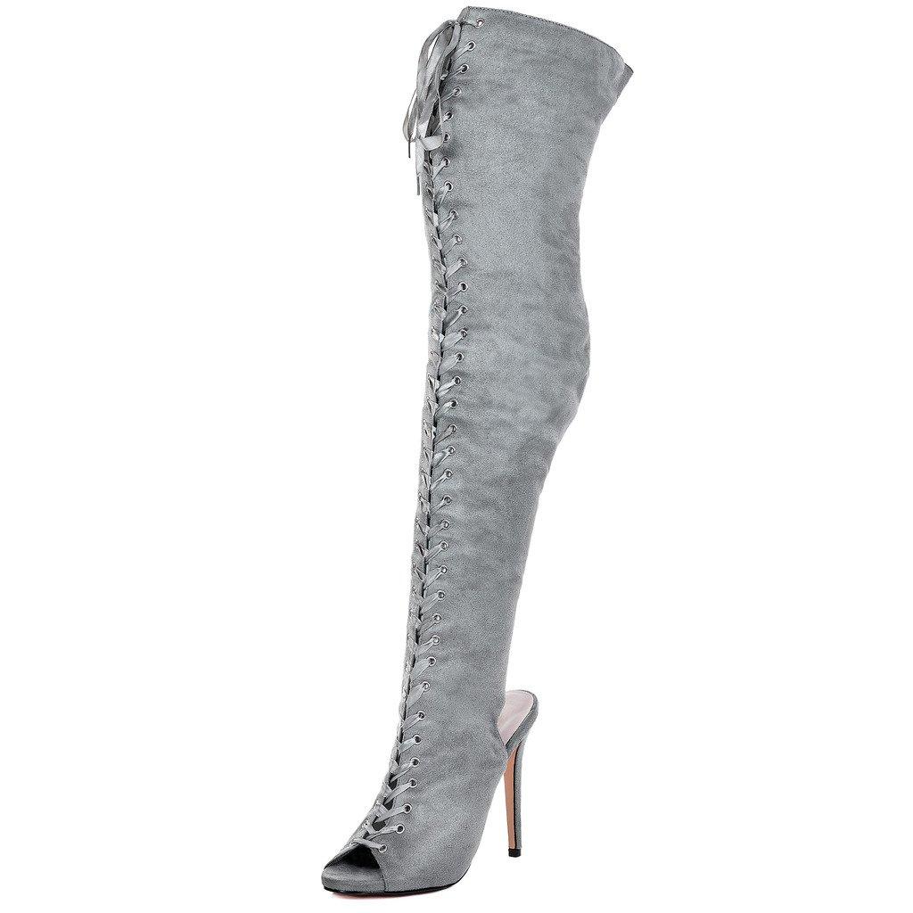 Spylovebuy Ragged Damen Schnür High Heel Stilettoabsatz Overknee Stiefel
