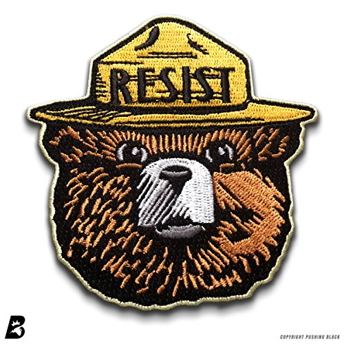 Smokey the Bear RESIST Embroidered Iron On Sew Patch ()