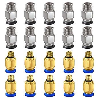 KeeYees 20 Piezas Conectores neumáticos Kit - PC4-M6 y PC4-M10 ...