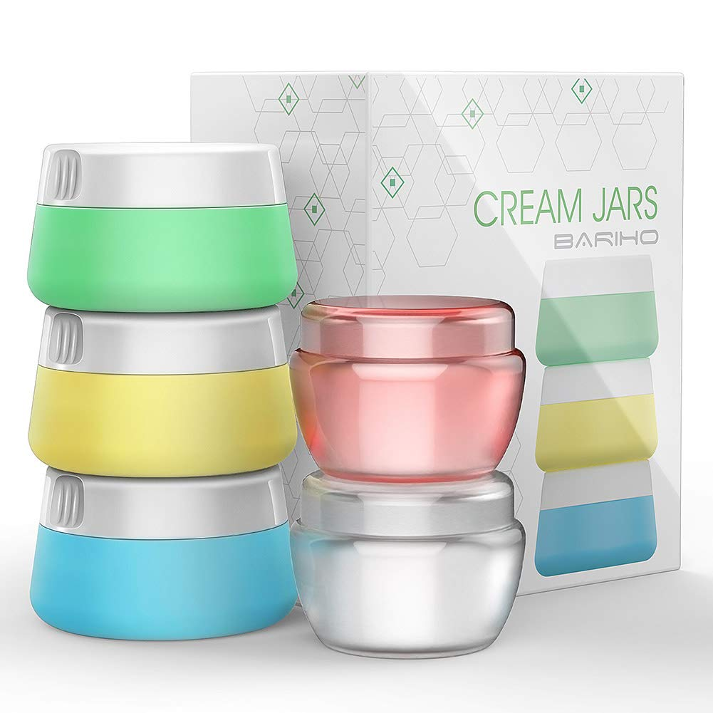 Travel Accessories Bottles Containers Sets, Silicone PP Cream Jars for toiletries, Compact Travel Size Containers with Hard Sealed Lids for Face Hand Body Cream 5 Pieces