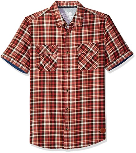 Buffalo David Bitton Men's Sijoulan Stretch Plaid Woven Shirt, Dark Espresso Large