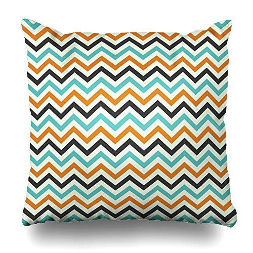 Ahawoso Throw Pillow Cover Stripes Autumn Zig Zag Pattern Holidays Lines Black Boo Bright Broom Costume Feather Zippered Pillowcase Square Size 18 x 18 Inches Home Decor Pillow -