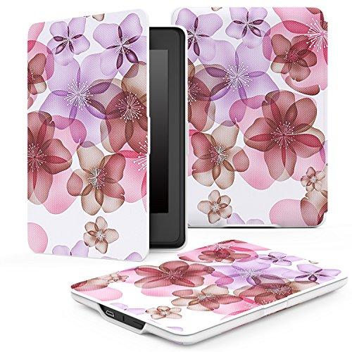 MoKo Kindle Paperwhite Hülle - Ultra Leightweight Schutzhülle Smart Cover mit auto Sleep / Wake Funktion für Alle Kindle Paperwhite (2016 / 2015 / 2013 / 2012 Modelle mit 6 Zoll Display), Blumen-Violett
