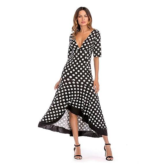 40bb80af549d3e Ears Kleider Sommer Damen Unregelmäßige Backless Sexy Dress Volants  V-Ausschnitt Rüschen Punkt Strandkleider Elegant