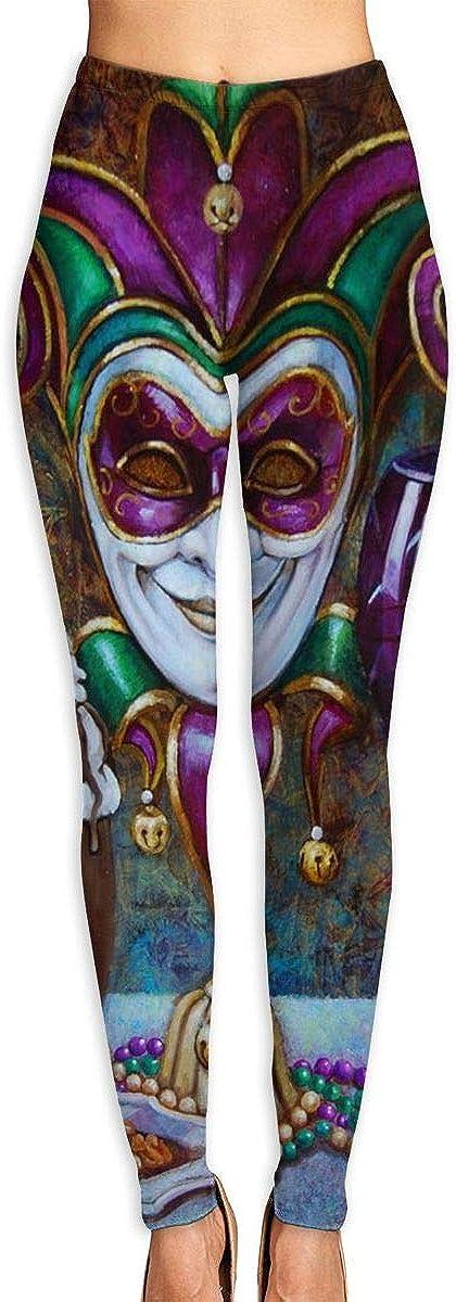 Womens Fashion Digital Print Mardi Gras Carnival Greasy Tuesday Mask Spandex Leggings Tights Pants
