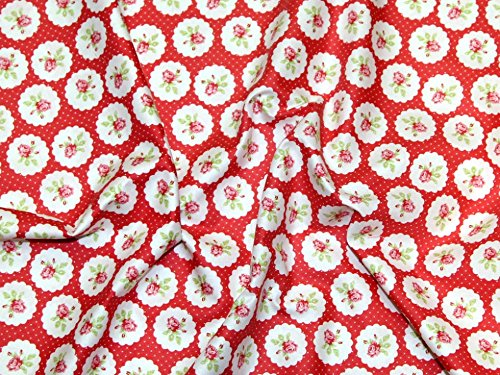 Free Spirit Tanya Whelan Lulu Roses Lotti Poplin Quilting Fabric Red - per fat quarter