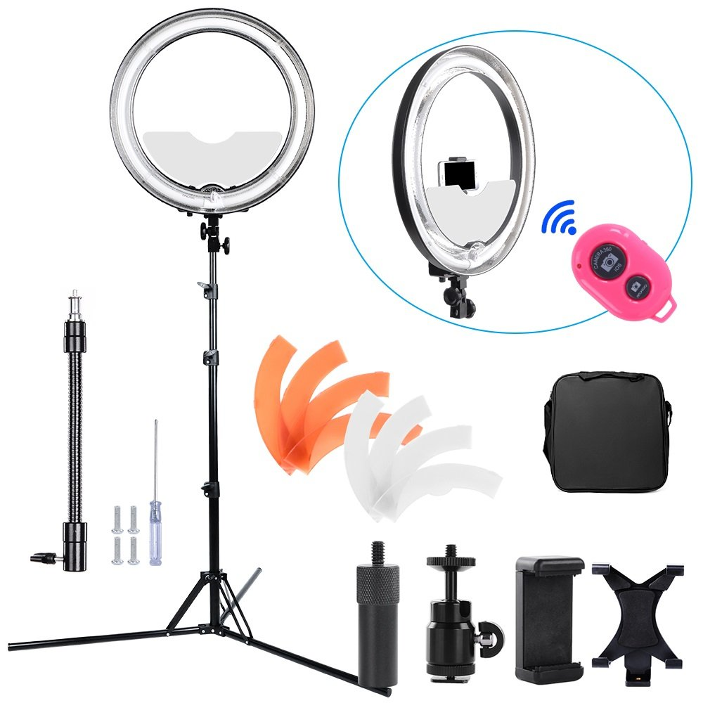 Hakutatz Dimmable 18 inches Diameter 75W Fluorescent 5500K Ring Light Kit with Bag,Filter,Extended Ball Head,Cellphone & iPAD Clip Holder,Mirror,Bluetooth Receiver,Soft Tube,Screwdrive,Light Stand