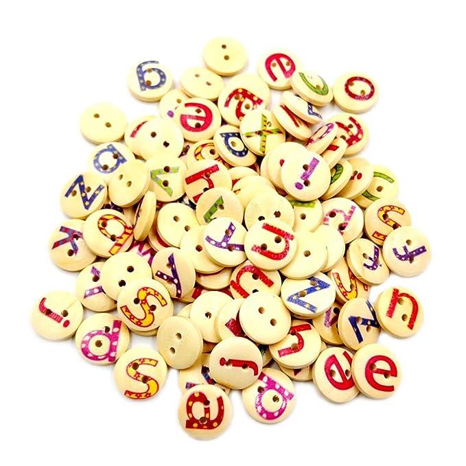 TENDYCOCO 100 Unids Botones Cartas Dos agujeros Redondos ...
