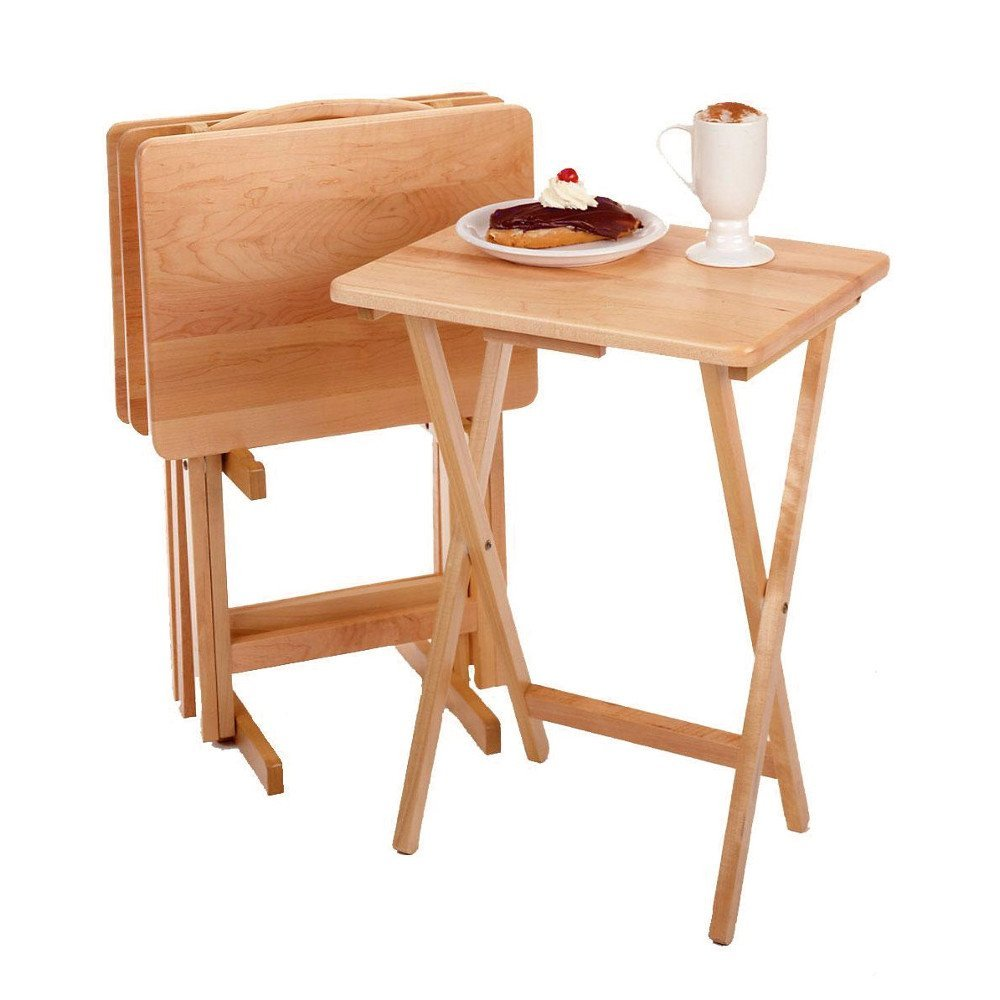 TV Snack Tables Set of 5pcs Multipurpose Solide Wood Folding Tray for Eating Drinks Laptops etc, with Carrying Stand & eBook by jn.widetrade.