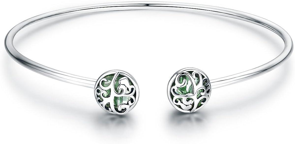 Pulsera de plata de ley 925, con diseño de árbol de la vida y cristal verde, circonita cúbica, para mujer