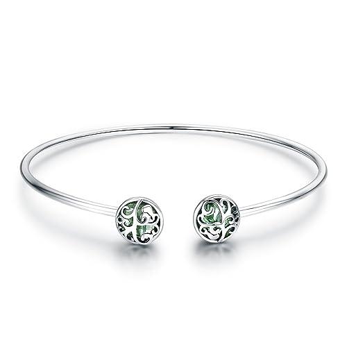 3ab0a41f99f46 925 Sterling Silver Tree of Life Green Crystal CZ Women Open Cuff Bangle   Bracelet  Jewelry
