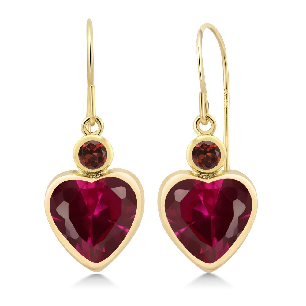 Heart Shape Lab Created Red Ruby 14K Yellow Gold Earrings - DeluxeAdultCostumes.com